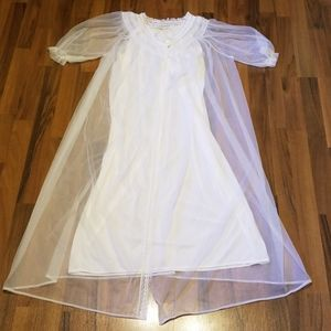 Vintage 60's Peignoir Matching Nightgown Lacy Set